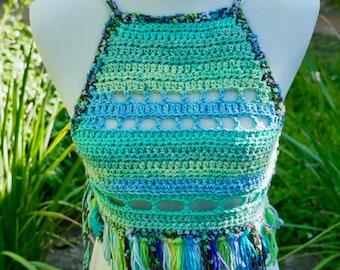 Crochet Halter, Cotton, One Size, Festival, Fringe, LOS ANGELES