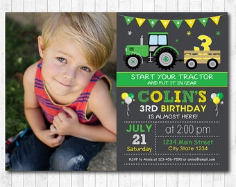 Tractor Birthday Invitation, Tractor Invite, Farmer Invitation, Photo Invitation, Chalkboard, Digital printable Invitation