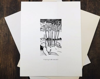 """Ten of Swords - 8x10"""" tarot print"""