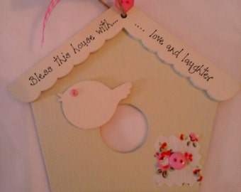 New Home /Welcome personalised  wooden shabby bird house gift