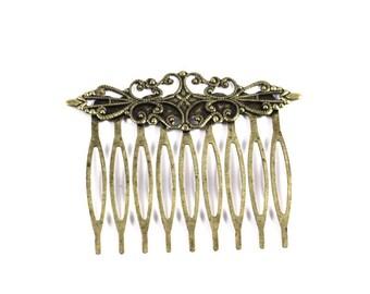 2 vintage metal bronze hair comb - customize Hair Combs D3