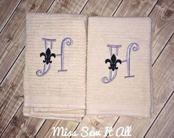 Embroidered Fleur De Lis Initial Towels, Kitchen Towels, Bath Towels, Hand Towels, Custom Towels