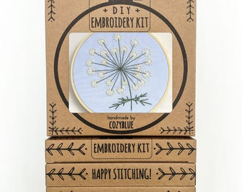 QUEEN ANNES LACE embroidery kit - embroidery hoop art, diy gift kit, queen anne's lace flower, stitched flower bloom, lacy white blossom
