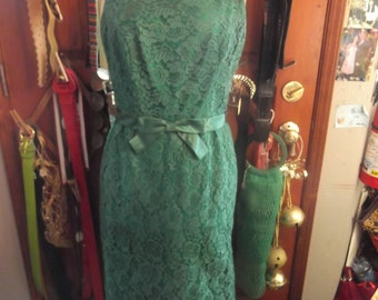 1950s Bright Green Lace Dress, lrg