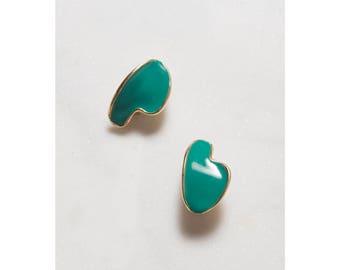 1980s Earrings . Clip On. Artist Palette . Novelty Earrings