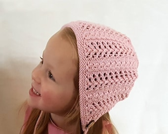 Baby Girl Bonnet | Knitted Bonnet | Hand Knit Baby Hat | Baby Shower Gift | Baby Gift | Kids Hat | Pretty Bonnet | Newborn Photo Prop