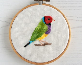 Cross stitch bird. Gouldian Finch cross stitch pattern. Rainbow finch. Small bird cross stitch. Australian bird cross stitch. Bird chart.