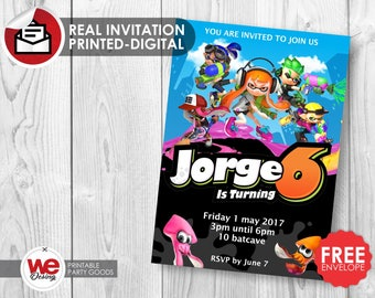 Splatoon invitation,Splatoon party,Splatoon invite,Splatoon birthday