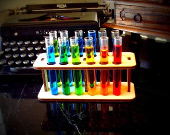12 Test Tubes and Wooden Holder Mad Scientist Lab