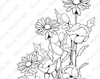 Printable Art to Color, Coloring for Adults, Poppies, Daisies, Hand Drawn Stamp Art, Plus PDF File: TIPS for Coloring, Commercial Use