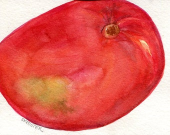 Mango Original Watercolor painting 4 x 6 Farmhouse kitchen decor fruit watercolor, tropical fruit watercolor