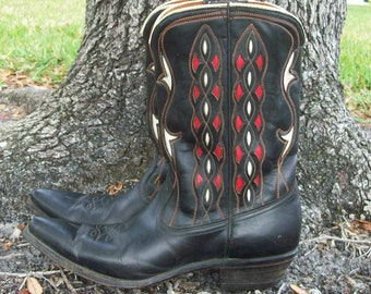 Acme Ladies/Girls Cowgirl Boots, Size 8 1/2 A -Black, Red and White Pattern