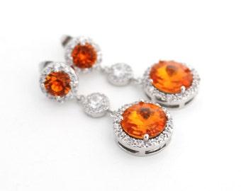 Fall Wedding Jewelry, Orange Wedding Earring, Tangerine Swarovski Earring, Long Bridal Earring, Wedding Teardrop Earring Bridal Drop Earring