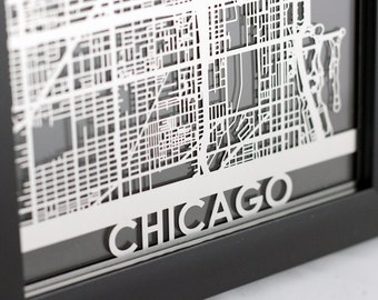 "Chicago Illinois Stainless Steel Laser Cut Map - 5x7"" Framed 