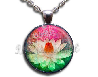 Lotus Flower Glass Dome Pendant or with Chain Link Necklace