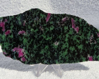 Ruby in Zoisite Slab, Ruby Zoisite Slab for Cab Making, Lapidary Supply, 123x59x5.7mm