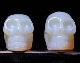 Opalite Quartz Skull Carving/Gemstone Carving/Quartz Skulls/Crystal Skull/Human Skull/Sculpture/Quartz Human Skull/Opalite  Stone Quartz