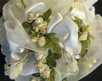 Romantic Hand Made Wedding Bridal Bouquet Vintage Petite Tussie Mussie Sheer and Silk Ribbon Lace Dried Flowers