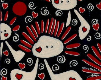 """ABSTRACT Print, 12""""x12"""" Black Red Valentine's Day Love Art Print, Contemporary Art, """"Love Bug"""""""