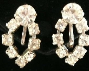 Vintage Sparkling Diamond Clear Rhinestone Screw Back Earrings