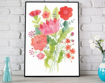 Watercolour Flowers, Red Flowers Print, Flower Poster, Floral Print, Floral Illustration, Flower Bouquet, Red Flowers Art, Botanical Print