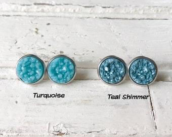 Turquoise Druzy Earrings