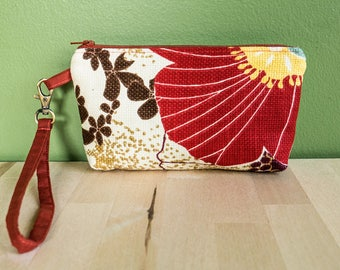 Handmade wristlet, phone wristlet, fabric clutch, gift for her