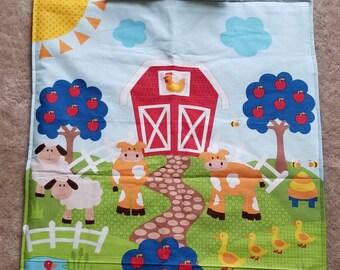 Farm preschool blanket with matching pillow