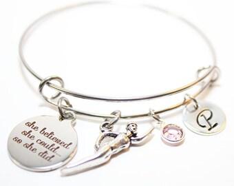 swimmer bracelet, swimmer bangle, swimmer jewelry, swimmer gift, personalied swimmer bracelet, swimmer initial bracelet,swimmer charm bangle