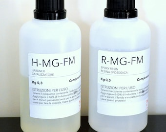 Resin R-mg-fm and hardener H-mg-fm kit for tridimensional object hand worked resin art, Clear fluid art epoxy resin for 3D