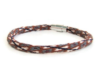 Unisex southwest design, woven friendship kumihimo bracelet with stainless steel magnetic clasp