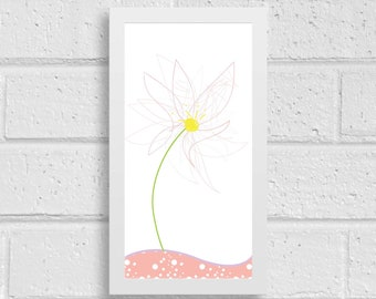 Cute flower picture,LineArt, pink color,fairy style,Instant Download,Printable Art,Wall art,Home decor