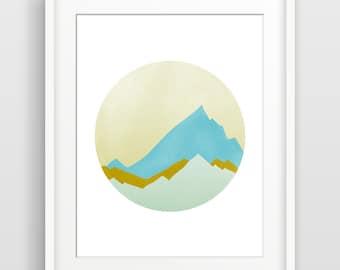 Mid Century Modern Wall Art, Minimalist Poster, Mountain Print, Modern Abstract Art Print, Geometric Print, Abstract Print, Minimalist Art