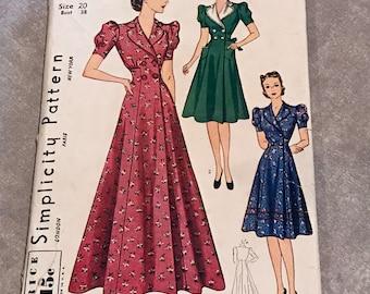 Simplicity RARE UNCUT Vintage 1930s Sewing Pattern / Misses & Women's Princess-line Housecoat or Dress / Size 20, Bust 38 / 3306