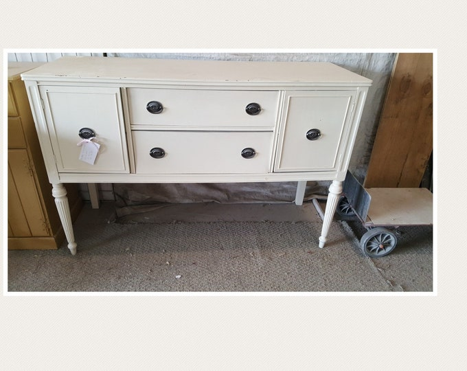 PICK UP ONLY Vintage Shabby Chic Buffet, Sideboard, Server, painting inc, living room dining room, media center, tv console, liquor cabinet