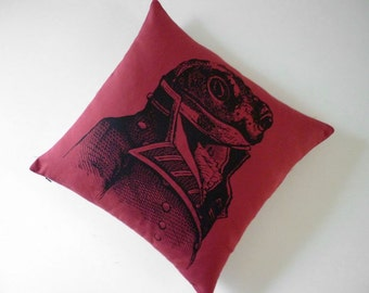 General Toad silk screened cotton throw pillow 18x18 red black