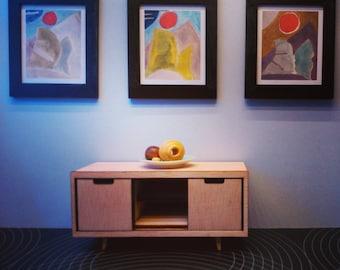 IKEA inspired miniature dollhouse modern TV table, 1/12 scale