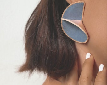 Lena stud statement leather earrings in serenity blue and blush pink colour