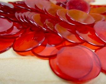 155 Vintage Red Plastic Bingo Markers