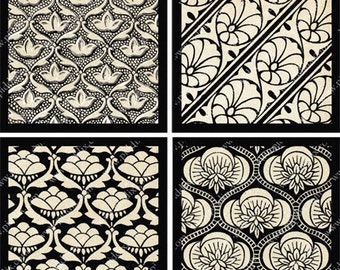 Vintage Black and White Bombay Silk Digital Collage Sheet in 2.5 Inch Squares India Textiles Patterns Fabric Sari piddix 758