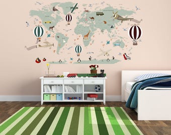 Nursery map decal etsy airplane world map decal clear vinyl decal boys room decals world map mural gumiabroncs Choice Image