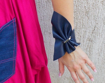 Navy Leather Bracelet / Navy Bracelet / Leather Bracelet with Metal Accessory / Leather Cuff Bracelet TLJ25