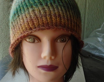hand-knitted autumn beanie - one size fits all adults - Japanese Wool Yarn