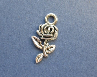 10 Rose Charms - Rose Pendant- Rose - Flower Charm - Antique Silver - 21mm x 10mm -- (No.118-10709)