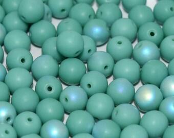 Czech Glass Druk, 4mm Round, approx 50 beads, Matte Jade AB