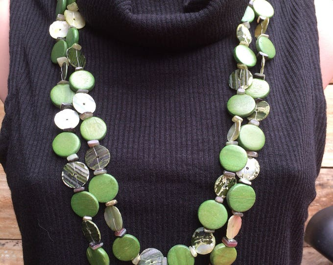 Unique Long Leaf Green Shell & Wooden Bead Double Strand Necklace