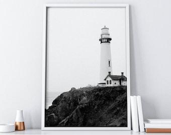 Lighthouse| Coastal Printable Art| Ocean Wall Art Decor| Seascape Wall Decor| Coastal Decor Print| Minimalist Poster| Scandinavian Print