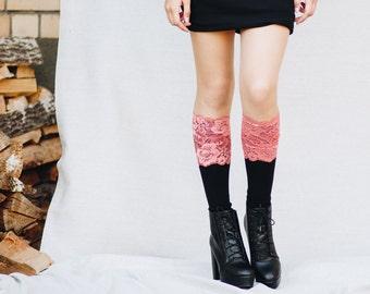 Lace Boot Cuffs / Pink Bridesmaid Gift / Boho Chic Wedding / Womens Boot Cuffs / Pink Wedding / Lace Boot Socks / Leg Warmers // Raspberry
