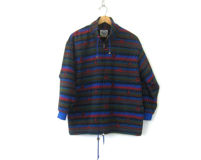vintage fleece sweatshirt Pullover Blue and Red Graphic Pattern blanket Sweater Long Drawstring jacket Women's size Large