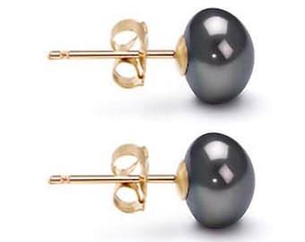Freshwater Pearl Earrings 6mm-10mm Black Pearl Earrings Stud Pearl Stud Earrings Akoya Pearl Earrings Wedding Stud Earrings Free Shipping